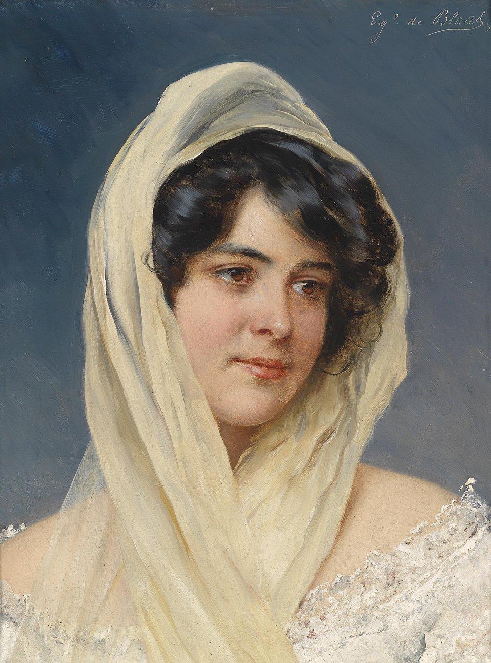 Bildnis einer jungen Dame mit Schleier, signiert 'Eug. de Blaas', Öl auf Holz, 35,5 x 26,3 cm