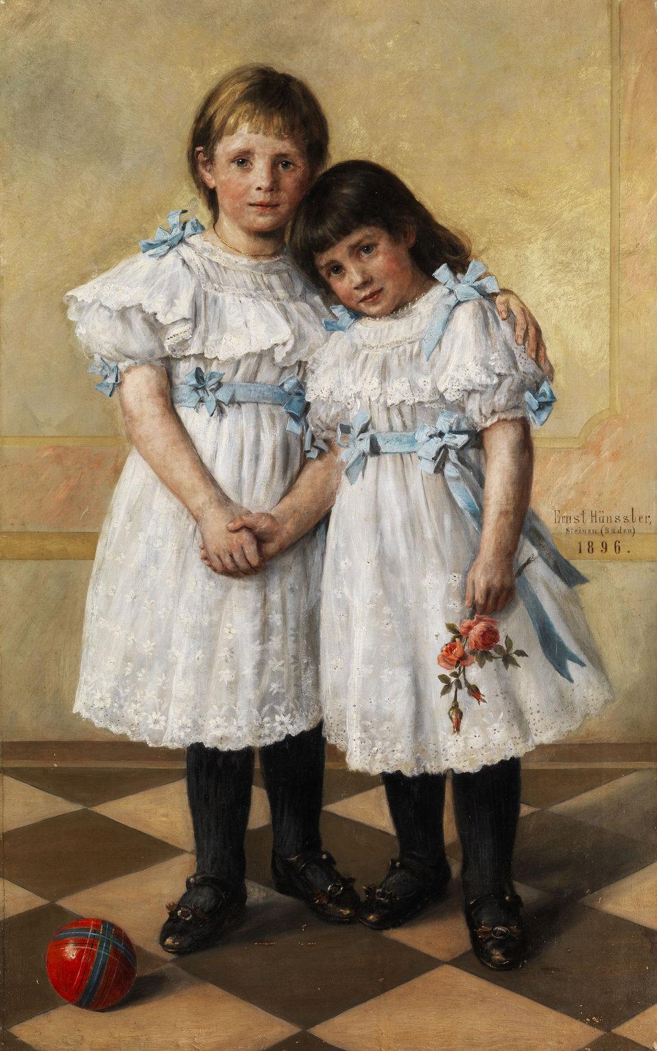 """Deutsch:  Doppelbildnis zweier Mädchen.Öl auf Leinwand. 108 x 66,5 cm. Signiert, ortsbezeichnet """"Steinen"""" (Baden) und datiert """"1896""""."""