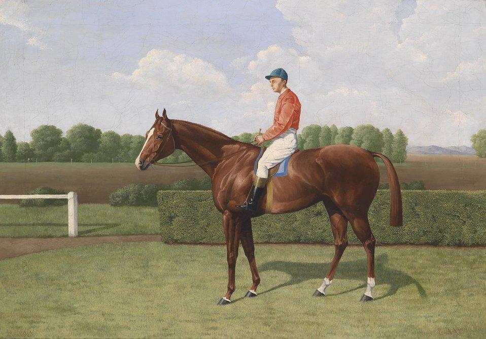 Deutsch:  'Gondolat', signiert, bezeichnet Emil Adam, Öl auf Leinwand, 54 x 76 cm, eventuell die Stute Gondolat aus dem Besitz des Grafen Tassilo Festetics (aktiv 1896/1897)