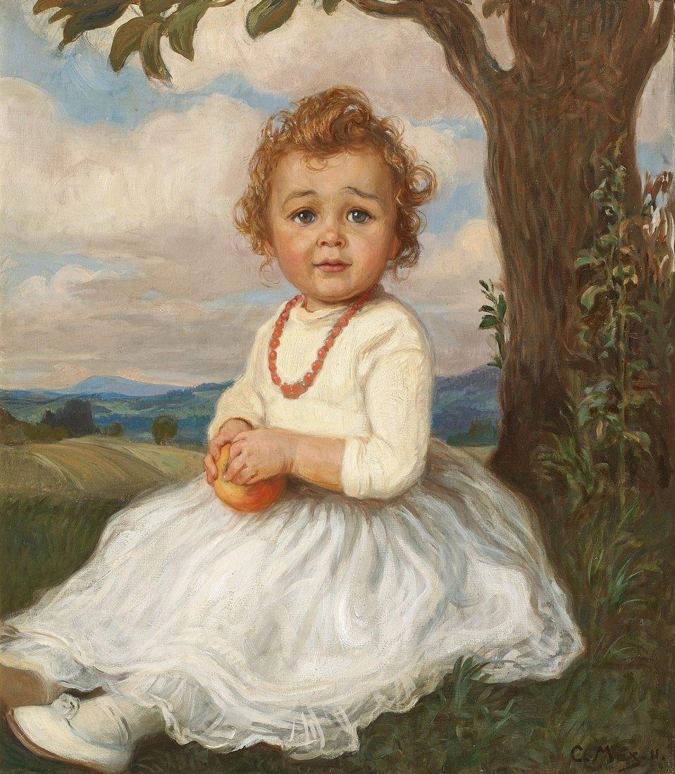 Deutsch:  Bildnis eines Mädchens, unter einem Baum sitzend. Signiert und datiert unten rechts: C. Max. 11. Öl auf Leinwand. 73 x 64 cm