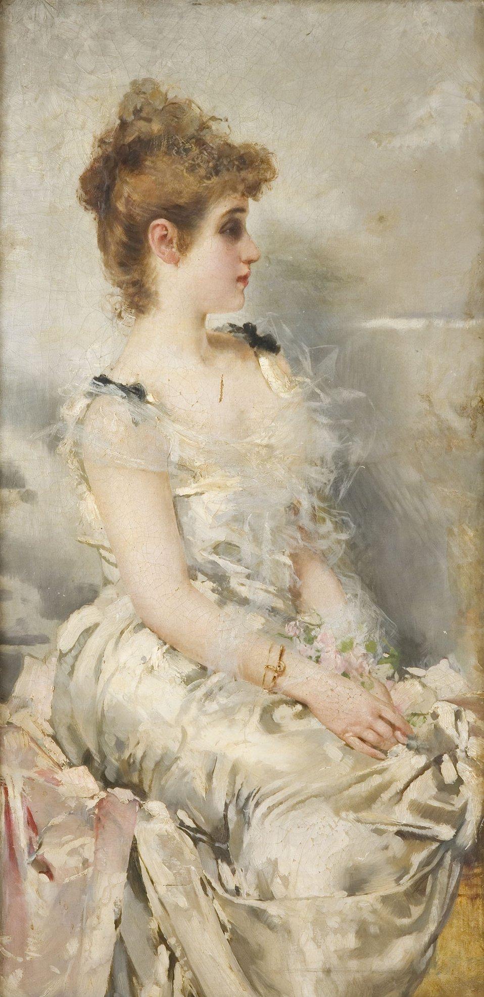 Français:  Portrait de jeune femme, h/t, cm. 200 x 60, Coll. privée