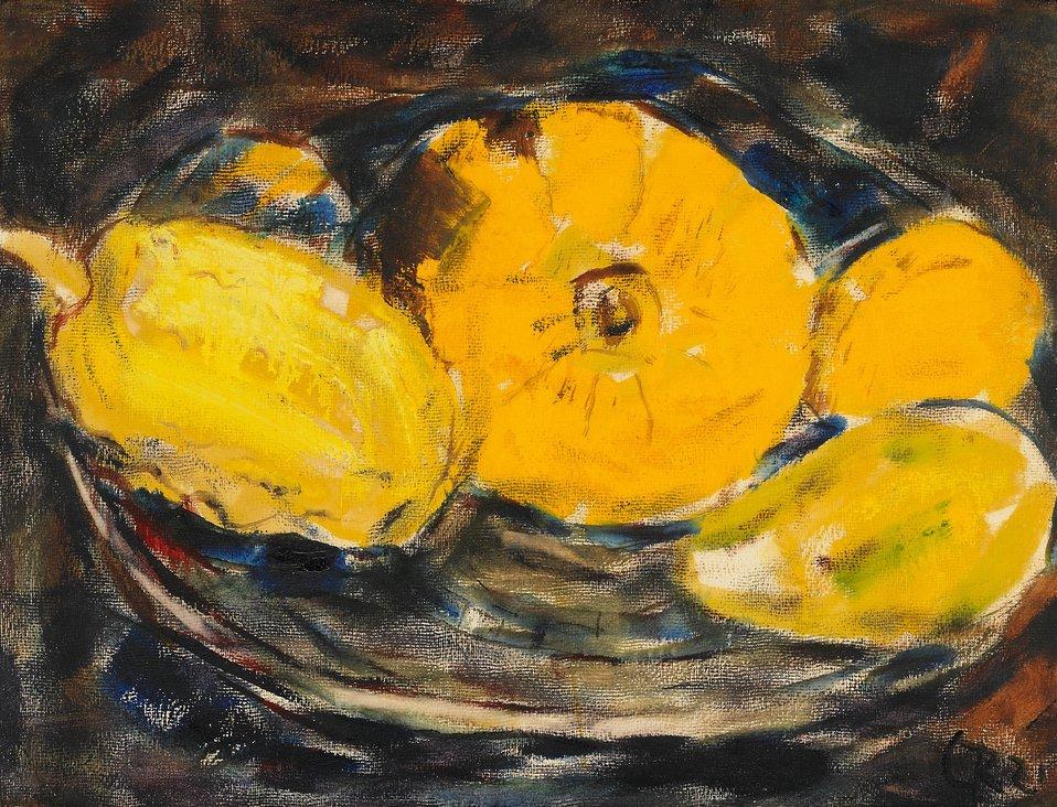 Kürbisse in einer Schale. 1921. Aquarell und Tempera auf Papier. 49,5 x 66,5 cm. Monogrammiert und datiert unten rechts: CR 21.