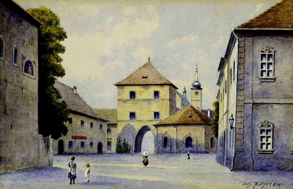 'Freihaus auf der Wieden', unten rechts signiert: Wl. Zajicek, Aquarell auf Papier, ca. 14 x 20 cm