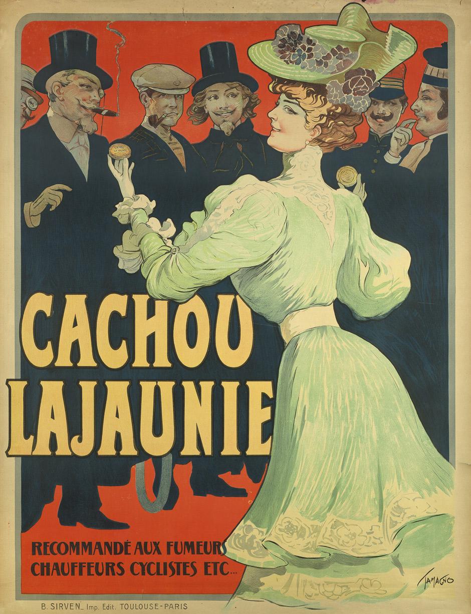 Cachou Lajaunie. Recommandé aux Fumeurs Chauffeurs Cyclistes etc. Großplakat, Farblithographie. 129,5 x 100 cm. Toulouse und Paris, B. Sirven, um 1890.