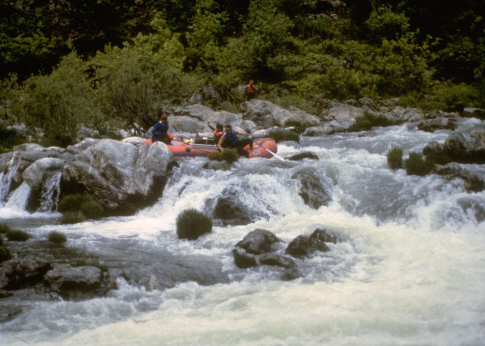 Rafters on the whitewater of Rainie Falls.