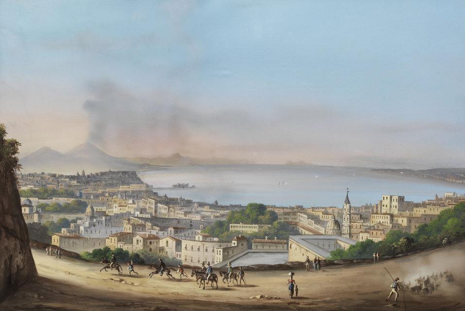 Deutsch:  Blick über den Golf von Neapel. Tempera/Gouache auf Karton. 52 x 75 cm.