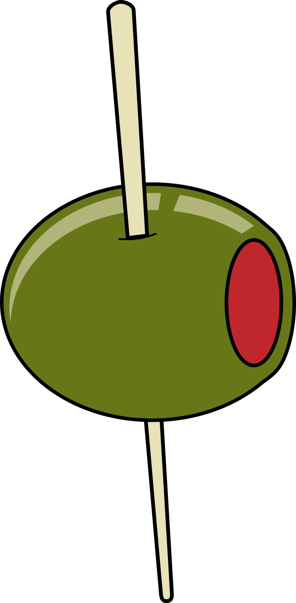 green olive on a toothpick