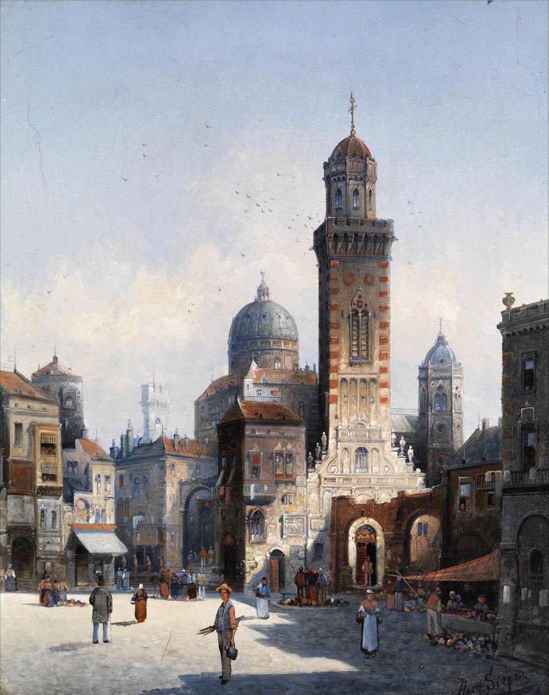 Deutsch:  (Fkitive) italienische Stadtansicht. Öl auf Holz. Ca. 52,5 x 40,5 cm.