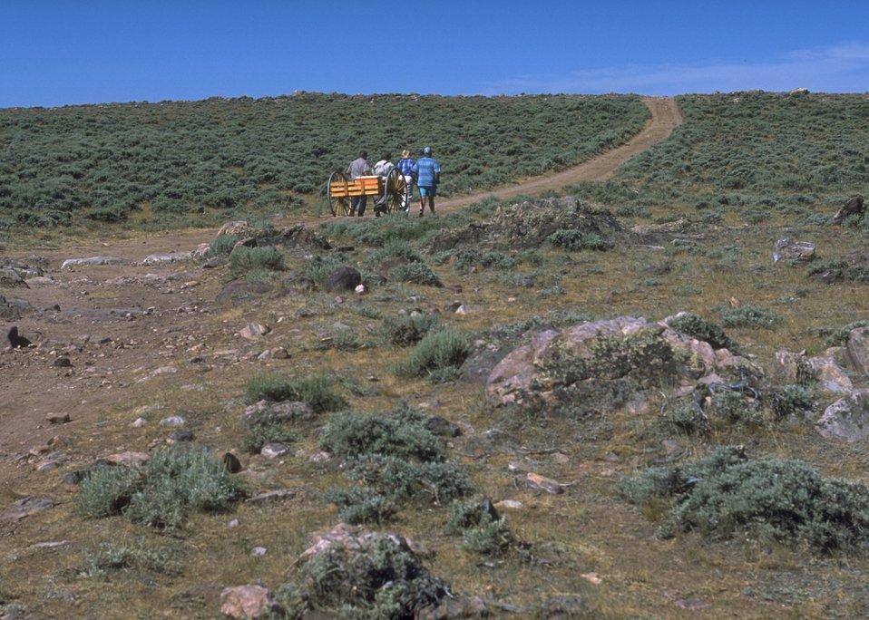 Hand cart re-enactment along the Mormon Trail, Lander Field Office.