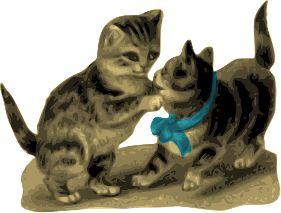Kittens, One with Blue Ribbon