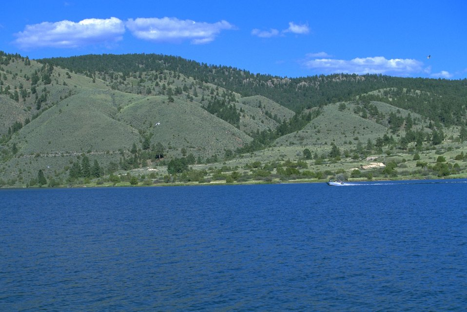 Green hills surrounding Hauser Lake