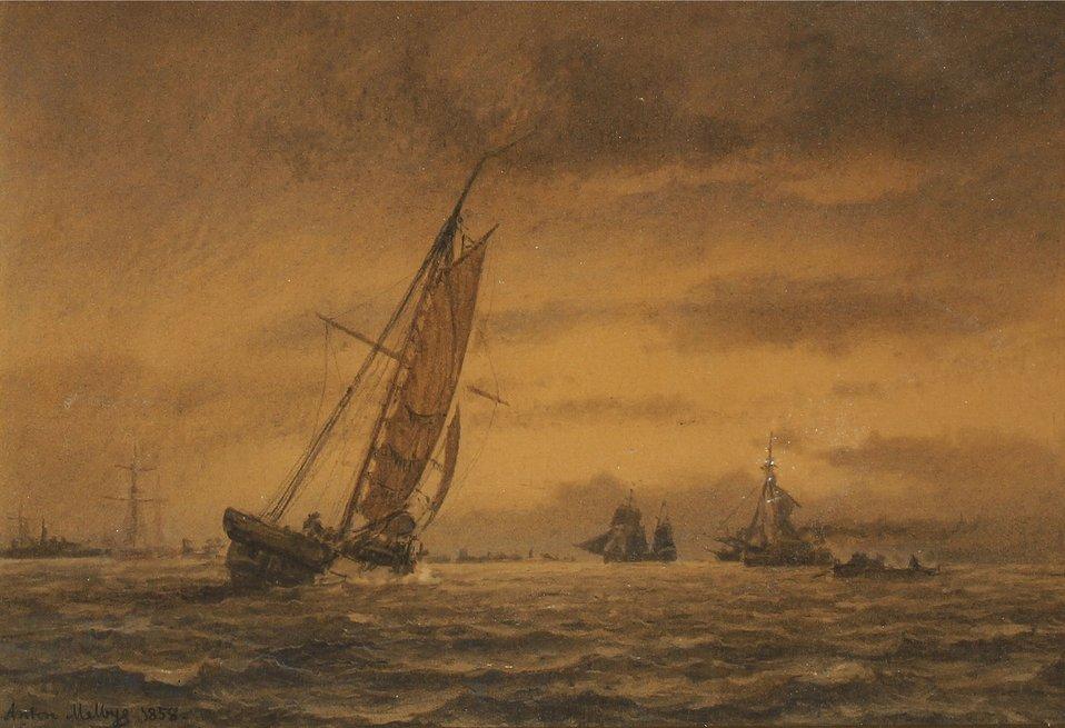 Anton Melbye - Talrige sejlskibe på havet.jpg