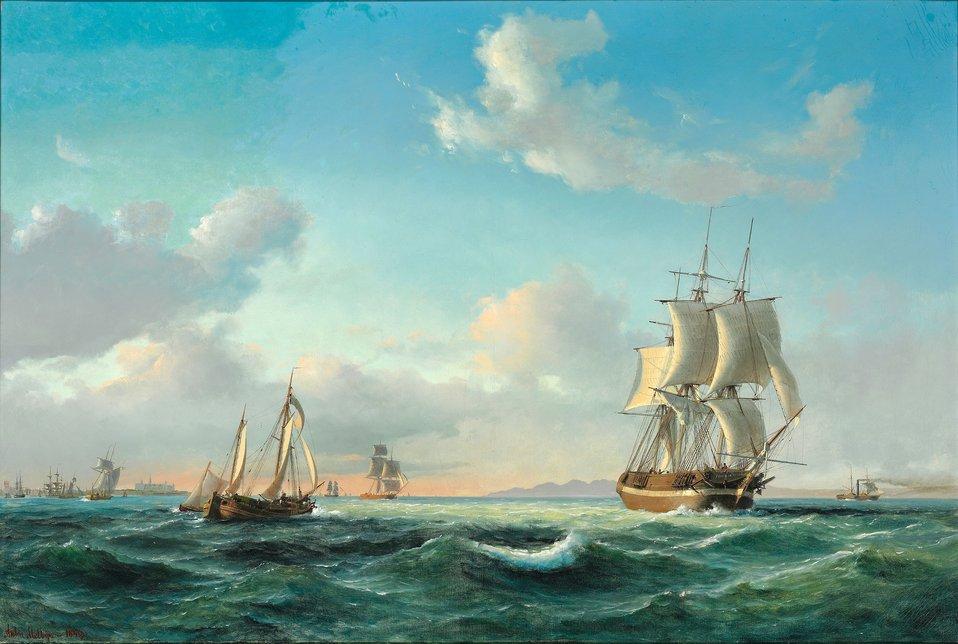 Anton Melbye - Sejlskibet 'Johanna' og andre fartøjer i Sundet ud for Kronborg Slot.jpg