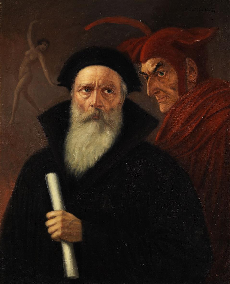 Faust und Mephisto. Öl auf Leinwand. 80 x 65 cm. Rechts oben signiert.
