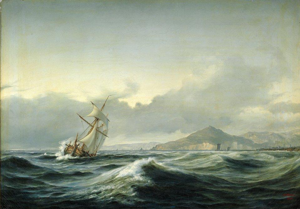 Anton Melbye - Marinemaleri med sejlskib i hård sø. I baggrunden en klippekyst.jpg