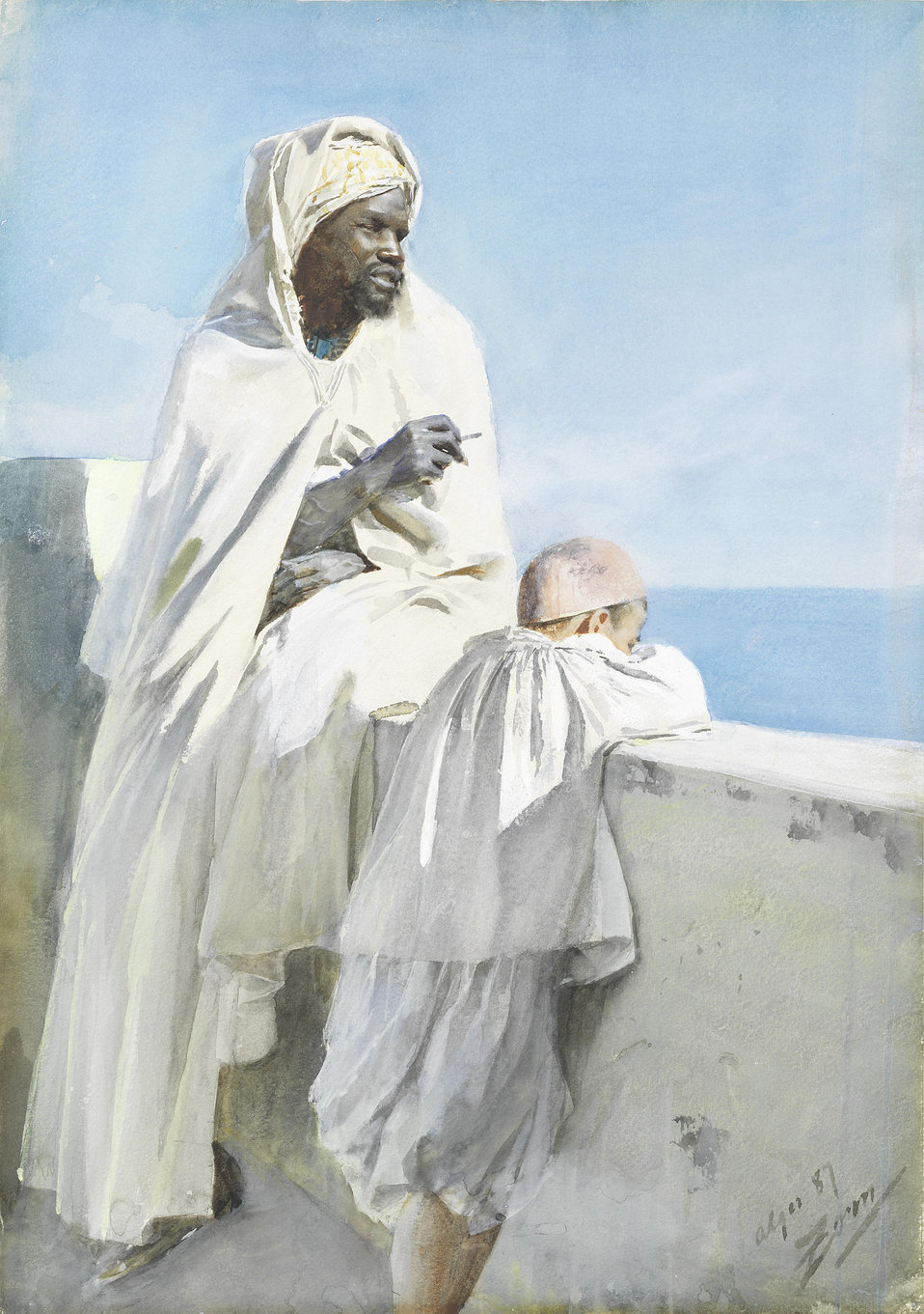 Man and boy in Algiers. Signed, inscribed and dated 'alger 87/Zorn' (lower right). Watercolour and bodycolour on paper laid down on board. 48.7 x 34.7 cm