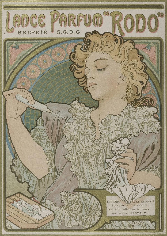 Lance Parfum Rodo 1896-97 Lithographie couleurs. Signé Mucha dans la pierre en bas à droite. 43x30 cm.