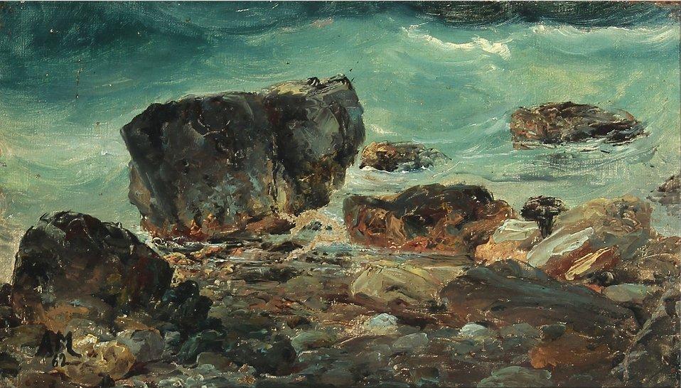 Anton Melbye - Kystnære scene med større sten.jpg