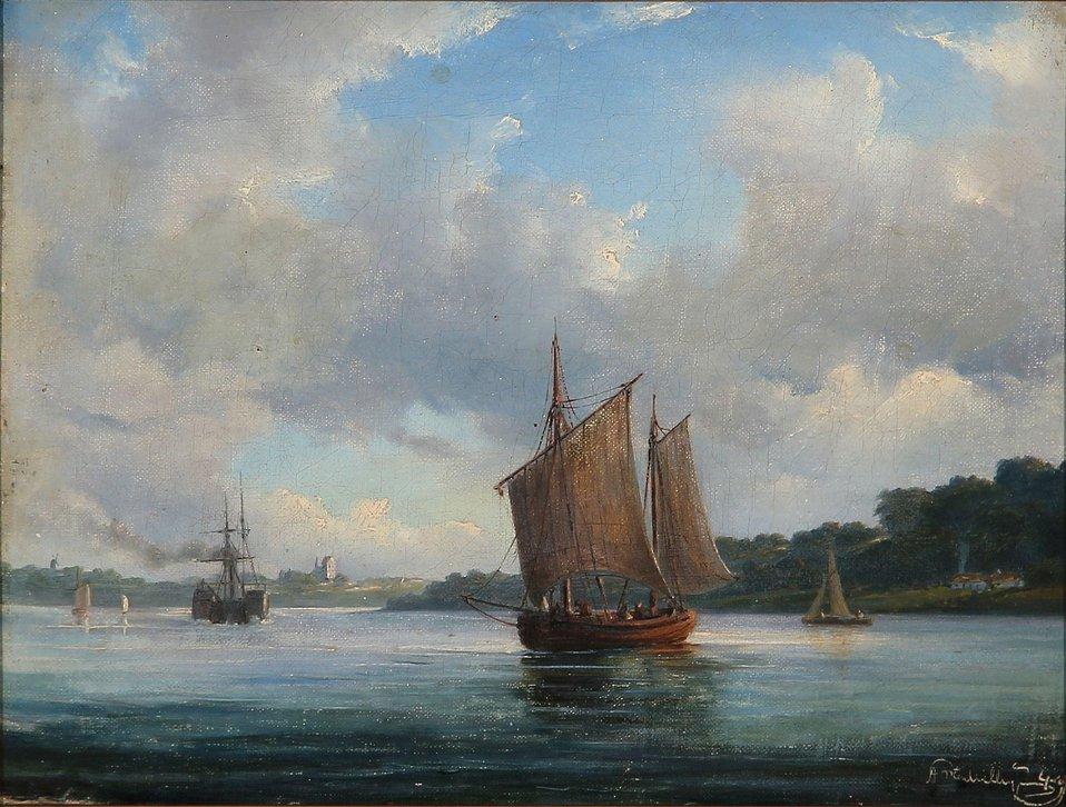 Anton Melbye - Fjord scene med fiskerbåde og en hjuldamper (1849).jpg