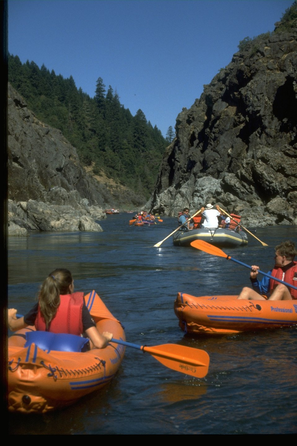 Rafting through the Hellgate Canyon on the Rogue River.
