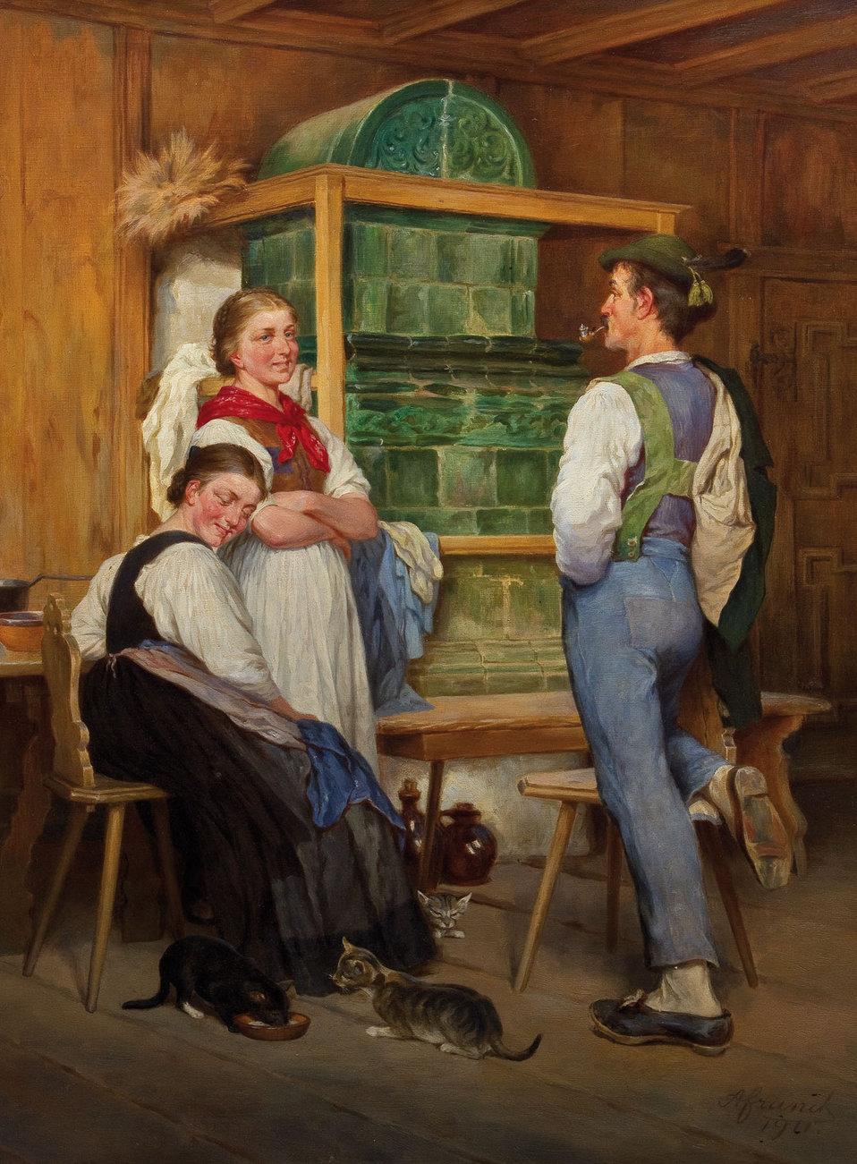 In der guten Stube. Öl auf Leinwand. Unten rechts signiert und datiert A. Franck 1911.. 78 x 60,5 cm