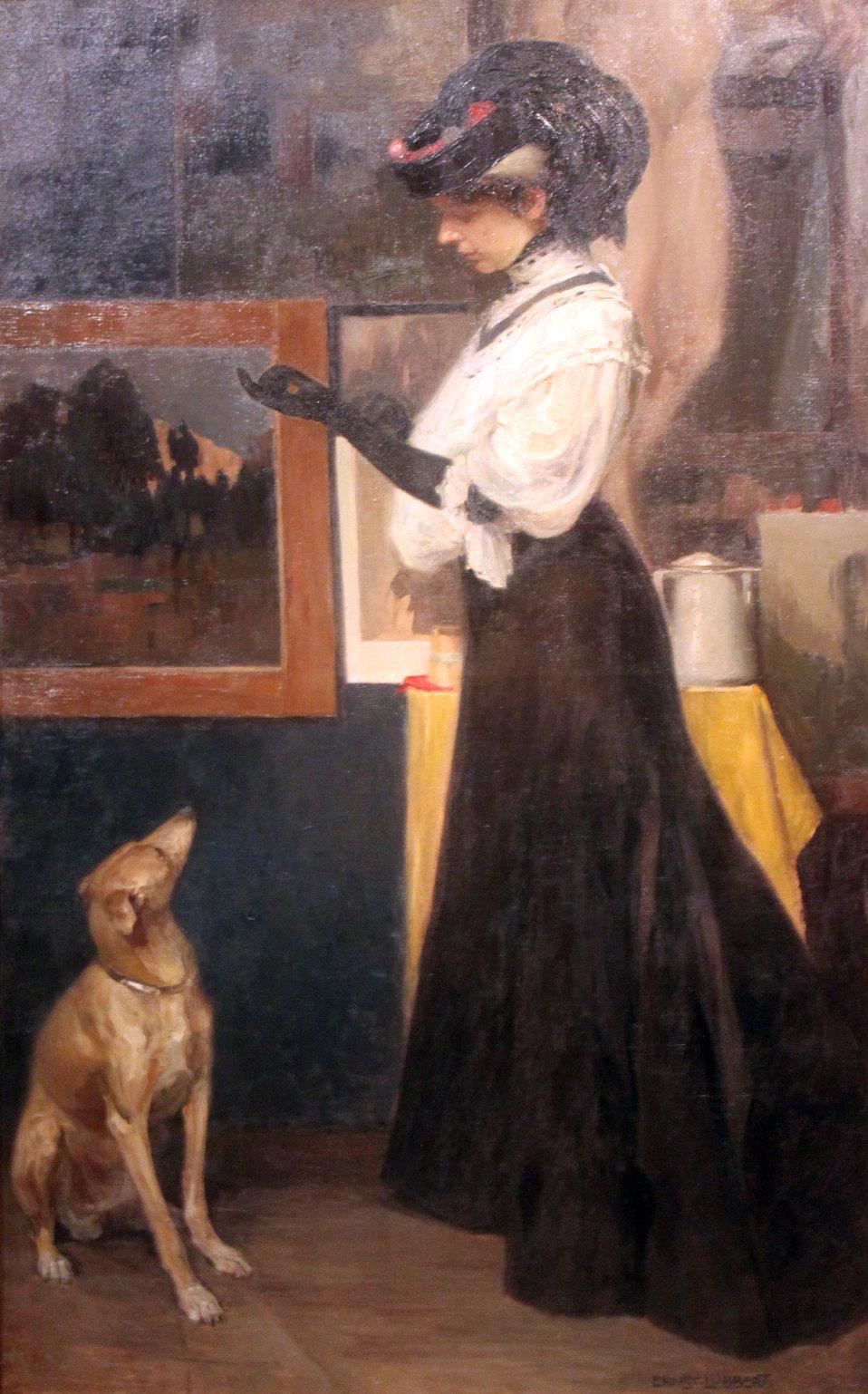 Lady with Greyhound Deutsch:  Dame mit Windspiel