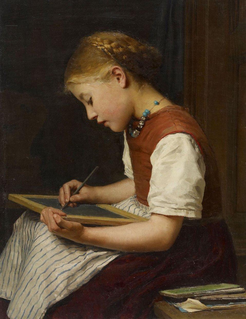 Albert Anker - Schulmädchen bei den Hausaufgaben.jpg