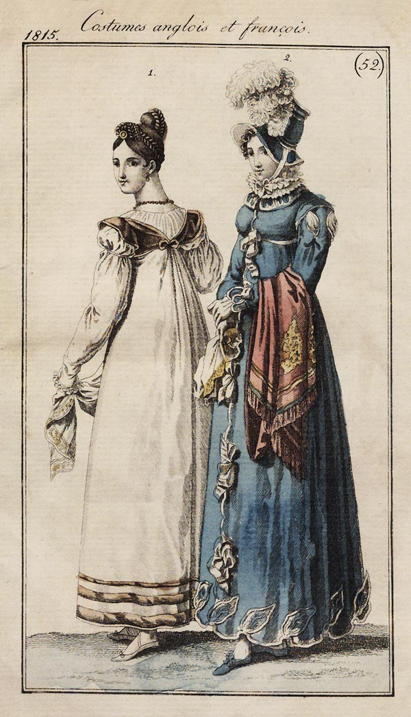 Fashion plate of English and French costumes for 1815