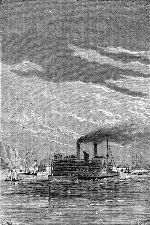 An illustration from Jules Verne's novel 'A Floating City' (1869) drawn by Jules Férat. Polski:  Ilustracja powieści Juliusza Verne'a 'Pływające miasto' (1869) autorstwa Julesa Férata. Français:  Jules Verne: 'Une Ville flottante' (1869),