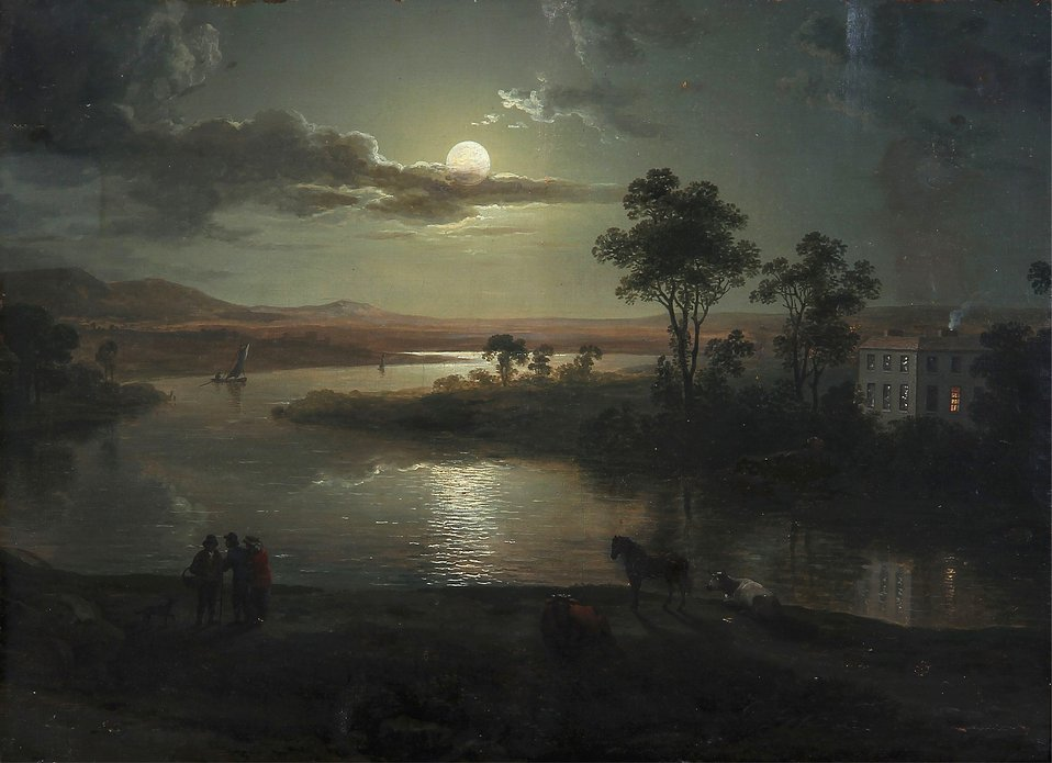 Abraham Pether - Evening scene with full moon and persons (1801).jpg