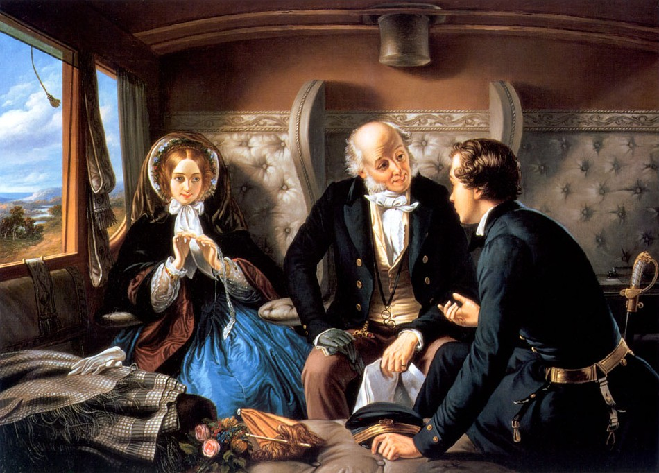 Nederlands:  Tweede herziene versie van (Travelling)First Class - The Meeting De eerste versie werd als controversieel beschouwd omdat de jongeman met de jongedame praatte terwijl de oudere man was ingedommeld. Schilder (Abraham Solomon)overleed in 1862 R