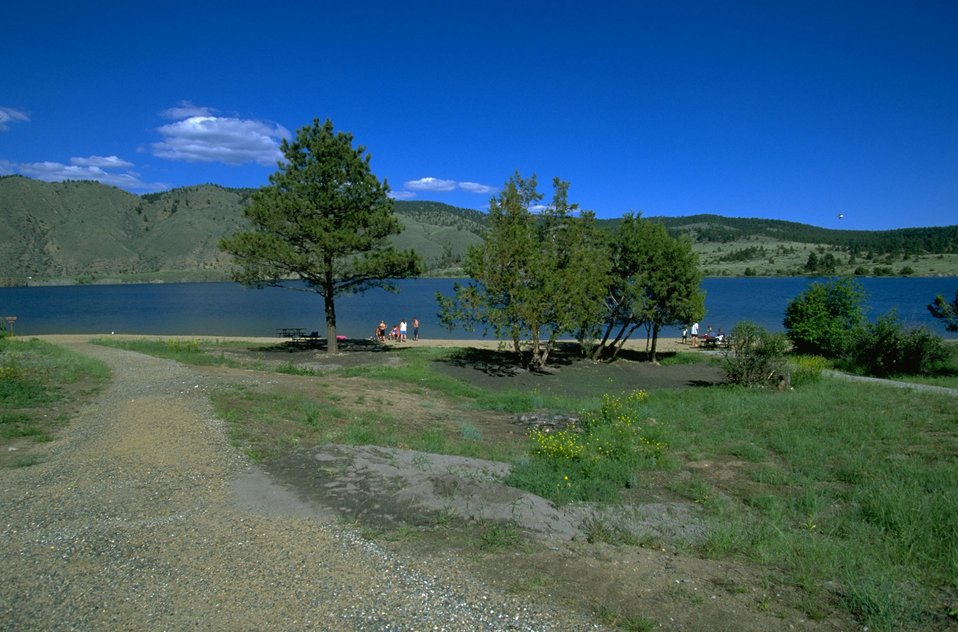 Trees and picnic area along Hauser Lake