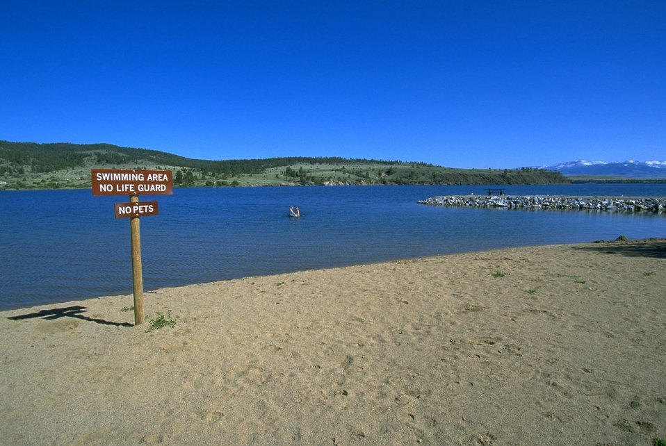 Swimming Area sign and beach at Hauser Lake