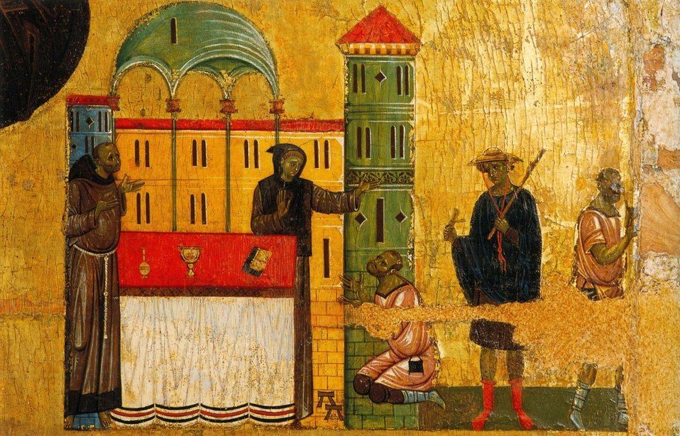 5 Giunta Pisano. St. Francisc and six stories from his life. Detail. Ca. 1250-60. Museo San Matteo, Pisa..jpg