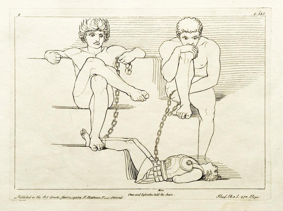 Deutsch:  Kupferstich (1795) von Tommaso Piroli (1752 – 1824) nach einer Zeichnung (1793) von John Flaxman (1755 – 1826).