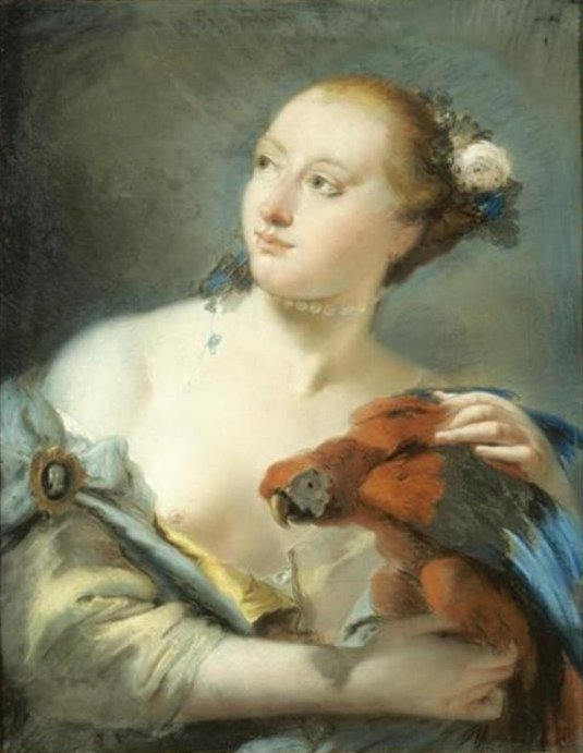 'Young Woman with a Parrot', pastel drawing attributed to Lorenzo Tiepolo, 1762, El Paso Museum of Art.jpg