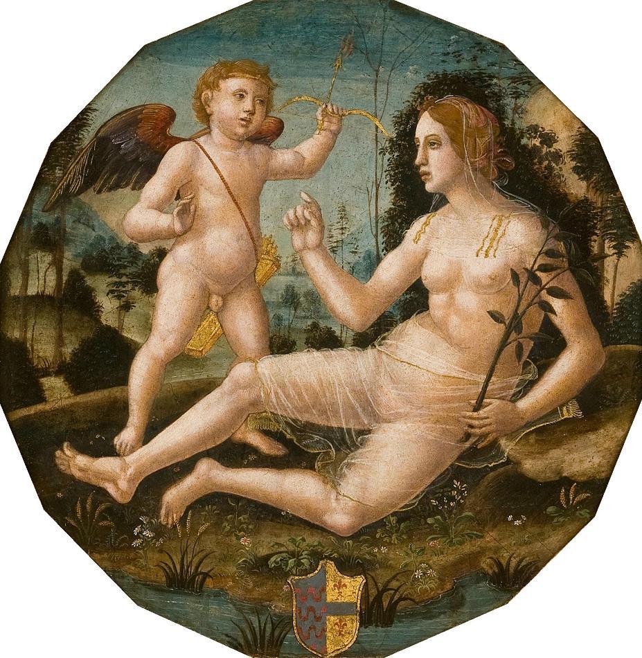 'Venus with Cupid', painting by Girolamo di Benvenuto.jpg