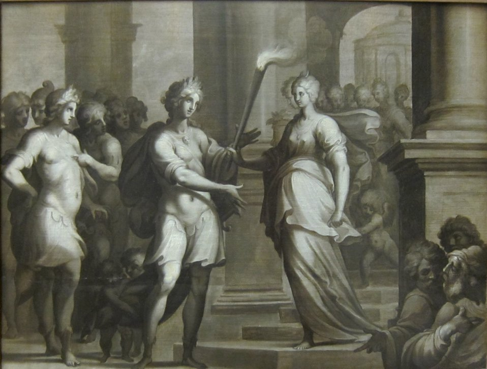 'Théagène reçoit le flambeau des mains de Chariclée' by Ambroise Dubois.JPG