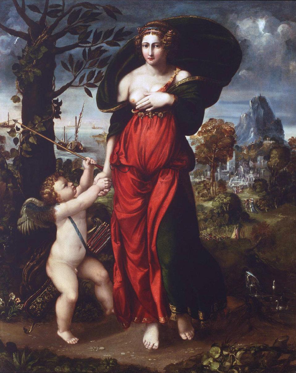 'Venus and Cupid', oil on canvas painting by Battista Dossi (Battista de' Luteri), c. 1540, Philadelphia Museum of Art.jpg