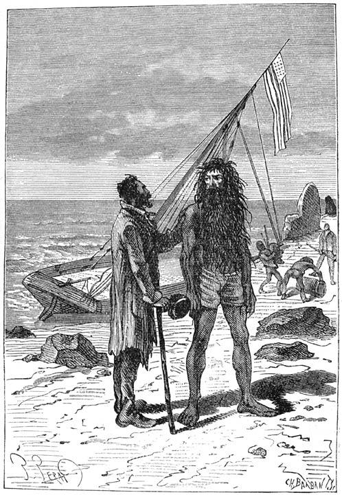 An illustration from Jules Verne's novel 'The Mysterious Island' (1873-74) drawn by Jules Férat. Polski:  Ilustracja powieści Juliusza Verne'a 'Tajemnicza wyspa' (tytuł przekładany także jako: Wyspa tajemnicza, 1873-74) autorstwa Julesa Férata