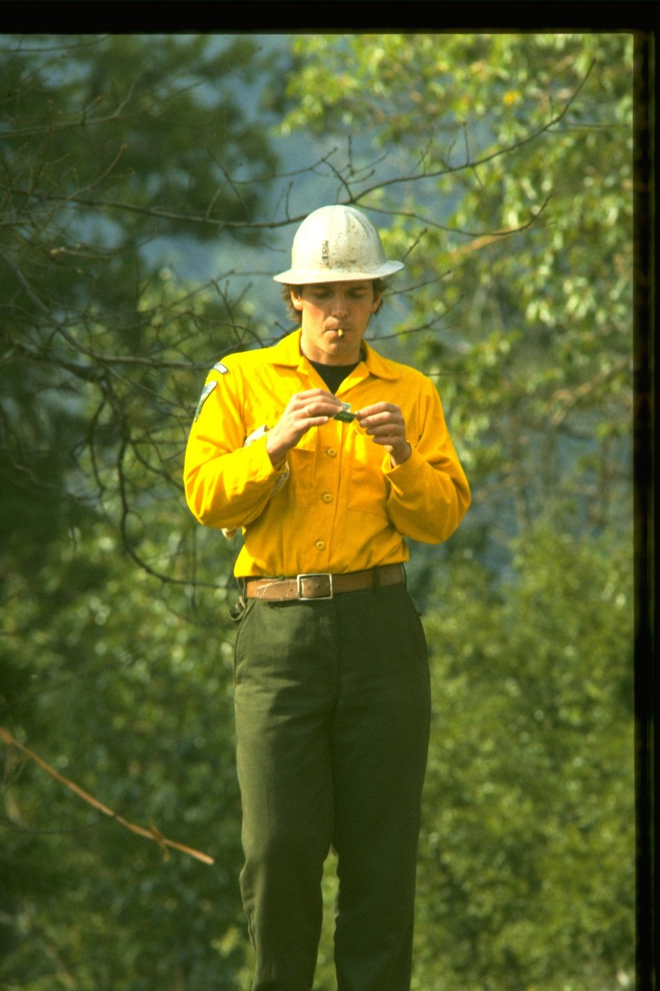 Firefighter standing in the woods.