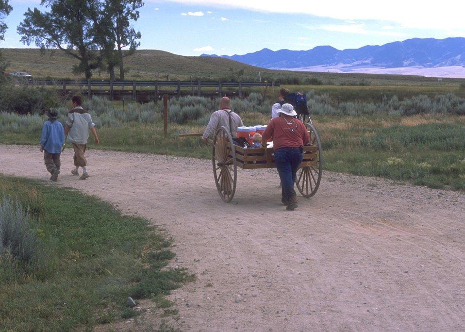 Handcart re-enactment near Martin's Cove, Rawlins Field Office.