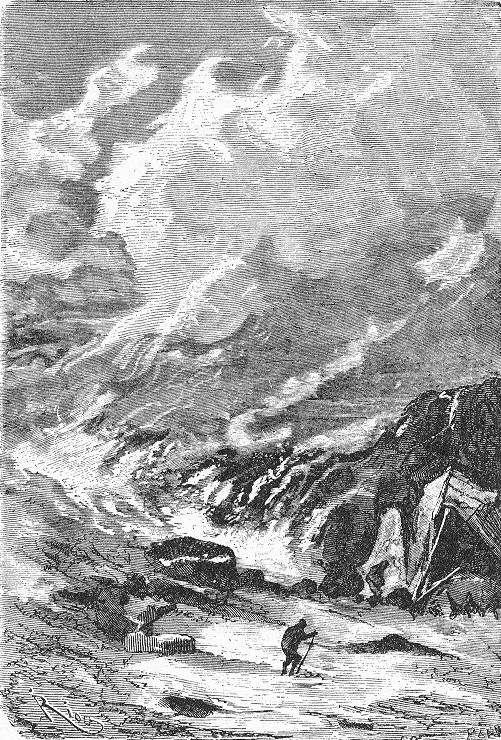 An illustration from Jules Verne's novel 'Journeys and Adventures of Captain Hatteras', part II: 'The Field of Ice' drawn by Édouard Riou and/or Henri de Montaut. Polski:  Ilustracja powieści Juliusza Verne'a 'Podróże i przygody kapitana Hatter