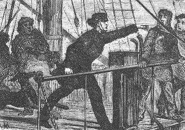 An illustration from Jules Verne's novel 'Journeys and Adventures of Captain Hatteras', part I: 'The English at the Noth Pole' drawn by Édouard Riou and/or Henri de Montaut. Polski:  Ilustracja powieści Juliusza Verne'a 'Podróże i przygody kapi