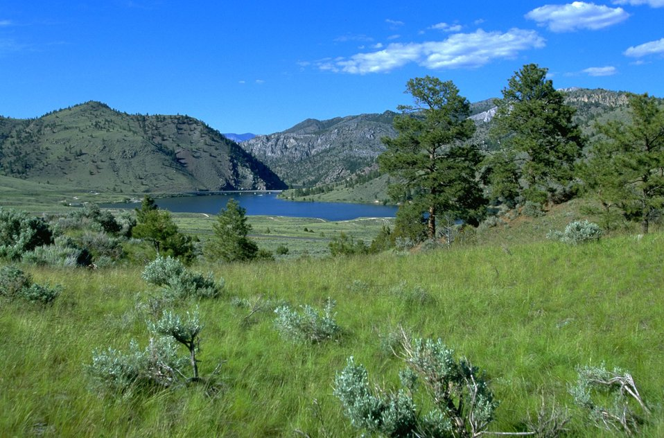 View of York Bridge stretching across Lake Hauser near Devils Elbow Campground