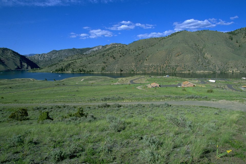 View from the hillside of Devils Elbow Campground by Hauser Lake