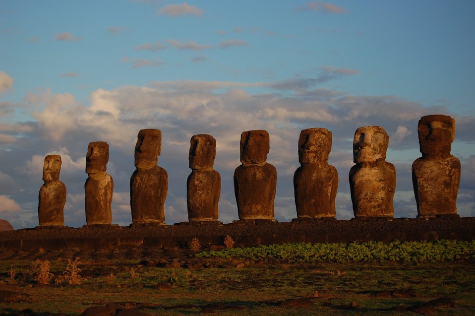 Moai facing inland at Ahu Tongariki, restored by Chilean archaeologist Claudio Cristino in the 1990s.
