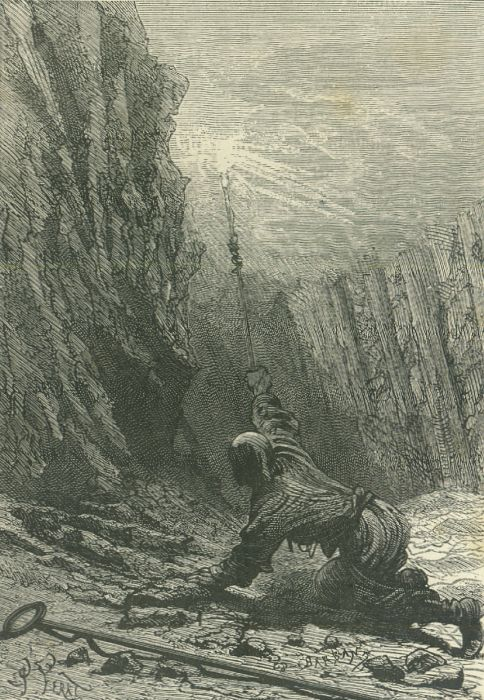 An illustration from the novel 'The Child of the Cavern' (alternative English titles for this novel include: Black Diamonds, Black Indies, Child of the Cavern, or Strange Doings Underground and The Underground City) by Jules Verne drawn by Jules Férat.