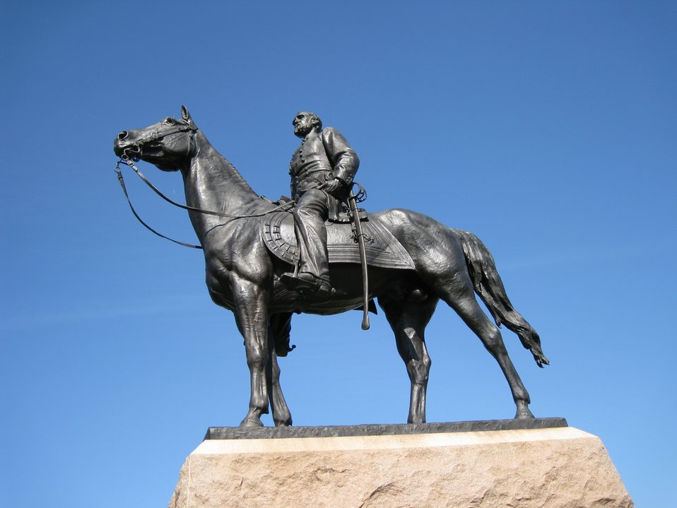 Statue of George Gordon Meade, the victorious general at the Battle of Gettysburg.