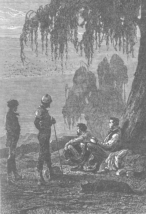 An illustration from Jules Verne's novel 'The Adventures of Three Englishmen and Three Russians in South Africa' (1870) drawn by Jules Férat. Polski:  Ilustracja powieści Juliusza Verne'a 'Przygody trzech Rosjan i trzech Anglików w południowej Af